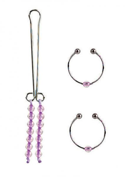 Nipple and Clitoral Non Piercing Body Jewelry Amethyst