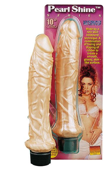 Pearl Shine Top Stud Vibrating Dildo Beige