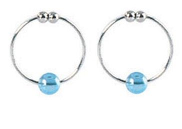 Silver Nipple Rings Non Piercing with Blue Crystals